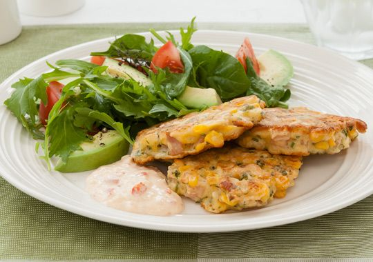 Bacon Sweet Chilli Corn Fritters with Salad.