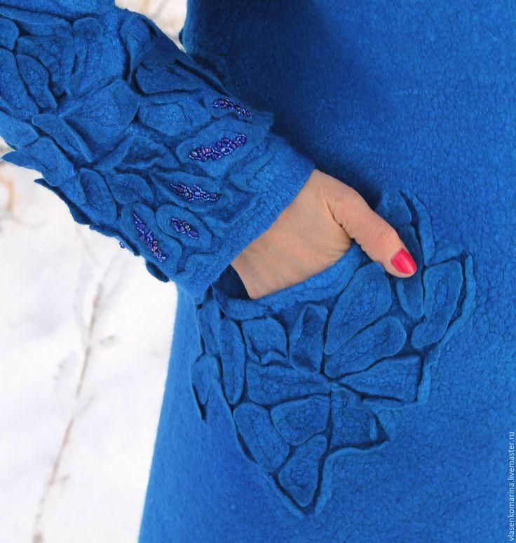 Купить Пальто валяное Сияние синего - синий, однотонный, пальто валяное, шерстяное пальто