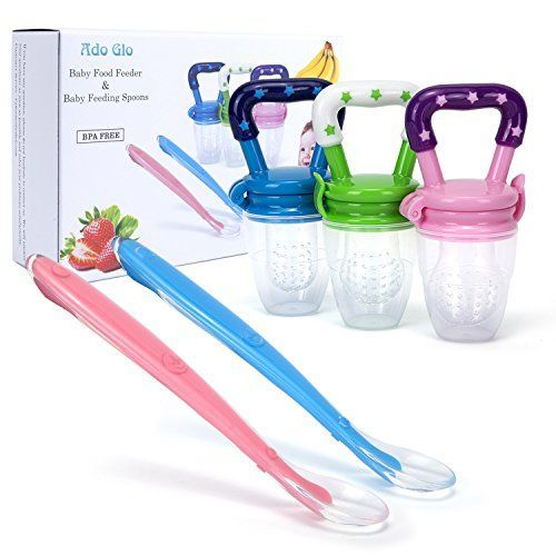 Ado Glo Baby Food Feeder - 3-Pack Fresh Fruit Feeder, Infant Teething Toy Silicone Nibbler with 2 Pack Baby Feeding Spoons. For price & product info go to: https://all4babies.co.business/ado-glo-baby-food-feeder-3-pack-fresh-fruit-feeder-infant-teething-toy-silicone-nibbler-with-2-pack-baby-feeding-spoons/