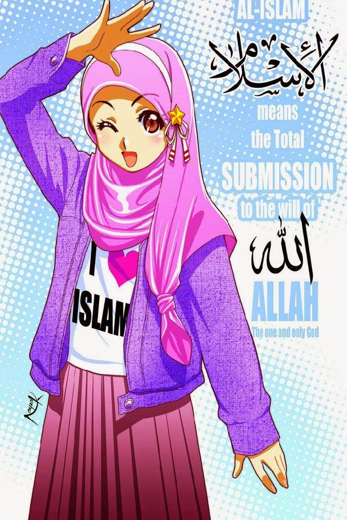 Gambar Animasi Wanita Hijab Cantik
