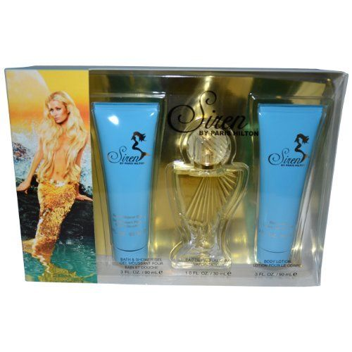 Paris Hilton Siren Women Gift Set (Eau De Parfum Spray, Body Lotion, Bath and Shower Gel) by Paris Hilton. $28.00. Siren Body Lotion 3 fl. oz/90 ml. Siren Bath & Shower Gel 3 fl. oz/90 ml. Siren Eau de Parfum Spray; 1 fl. oz/30 ml. Introduced by the design house of Paris Hilton in 2009. This feminine scent possesses a blend of frangipani, florals, creamy musk, mandarin, water lily, sandalwood, coconut orchid, apricot nectar, vanilla, and honeysuckle. It is recommended...