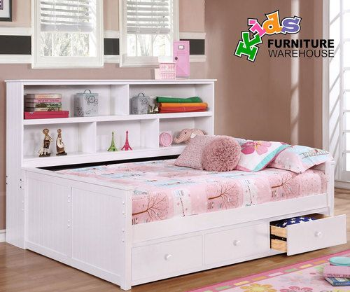 Buy the Allen House Full Size Bookcase Captains Daybed in White Finish at Kids Furniture Warehouse; The Allen House Captains Bed features solid wood construction and premium craftsmanship found in only the best furniture.