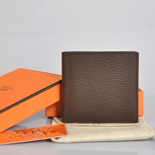 Hermes Men Wallets - H006 Hermes men Wallet clemence leather in Coffee