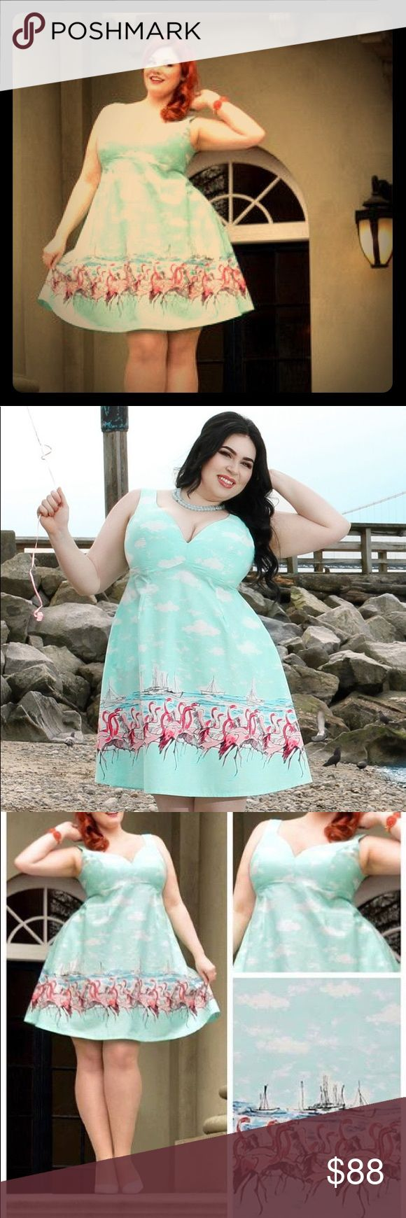 Cherry Velvet Flamingo Pinup Retro Dress 0X, NEW Awesome Aqua border print dress has nautical theme of sailboats and pink flamingos. Sweetheart neckline, zip up back, knee length. Size 0X, which fits a 16W-18W, please see chart. NWT by Cherry Velvet. Cherry Velvet Dresses Midi