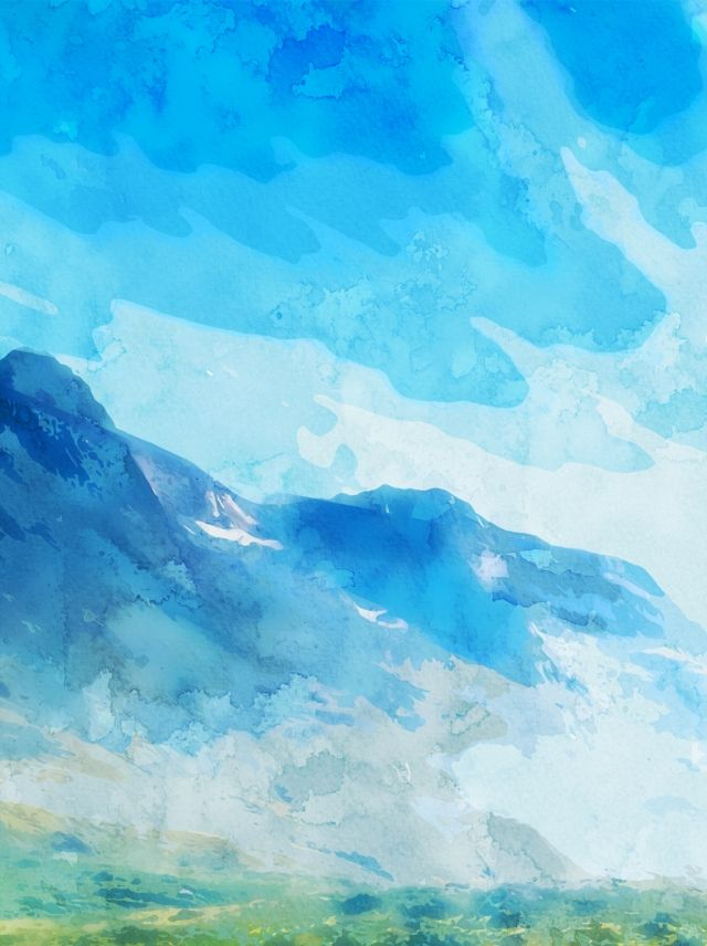 Full Hand Painted Watercolor Blue Sky White Clouds Background In