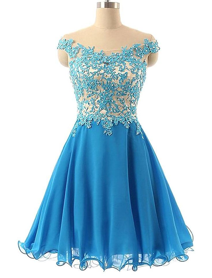 Tulle Homecoming Dress,Lace Homecoming Dress,Blue Homecoming Dress,Fitted Homecoming