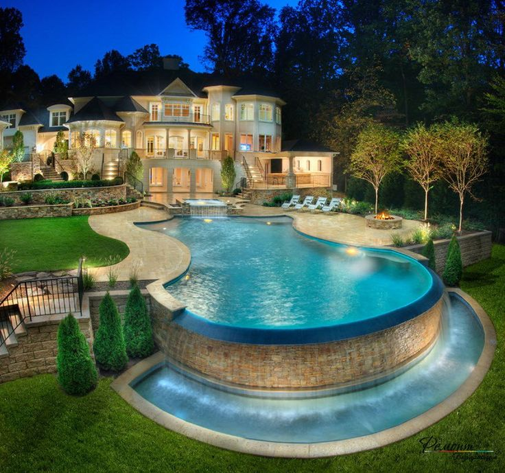Fresh Luxurious Swimming Pool With Natural Stone Edge And Outdoor Firepit Surrounded By Beautiful Garden Neoteric Beautiful