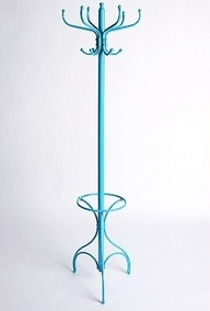blue coat rack at socks for vests and cains in bed room