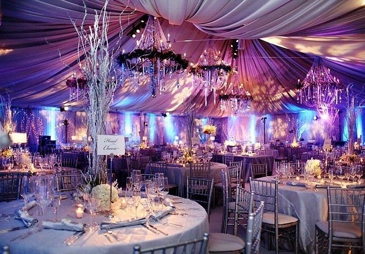 Draped walls and ceiling up lights and gobos floral for Winter wedding reception ideas