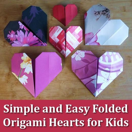 How kids (and adults) can make simple and easy origami paper folded hearts in ju…
