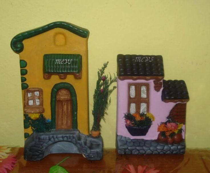 casitas de ceramica pintadas - Buscar con Google