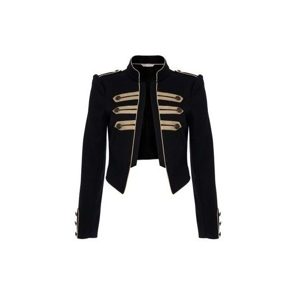 Black military jacket (£30) ❤ liked on Polyvore featuring outerwear, jackets, tops, coats, women, women's tops, military jacket, army jacket, red herring and cropped jacket
