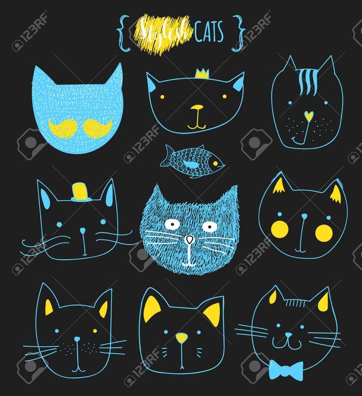 Набор милые каракули кошек. Эскиз кошки. Эскиз Cat. Cat ручной работы. Версия для печати футболки для кошки. Печать для одежды. Doodle Дети животных. Стильные морда кошки. Изолированные кошка. Pet Клипарты, векторы, и Набор Иллюстраций Без Оплаты Отчислений. Image 52987548.
