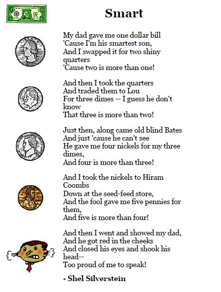 """Shel Silverstein poem- """"Smart"""" (great companion to go along with Alexander, Who Used to Be Rich Last Sunday)"""
