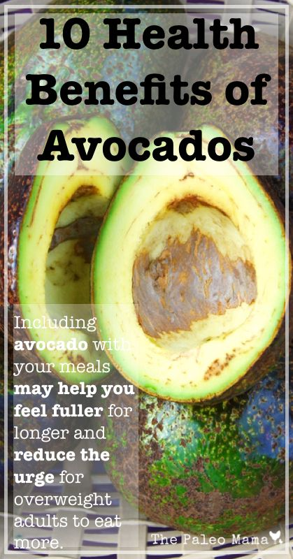 10 Health Benefits of Avocados. TweetWant to learn more about essential oils, but not sure how to start? Try my FREE Essential Oil QuickStart guide and get 10 days of lessons delivered to your email inbox for 10 days. (order here) ...no strings attached! Including avocado with your meals may help you feel fuller for longer and red...