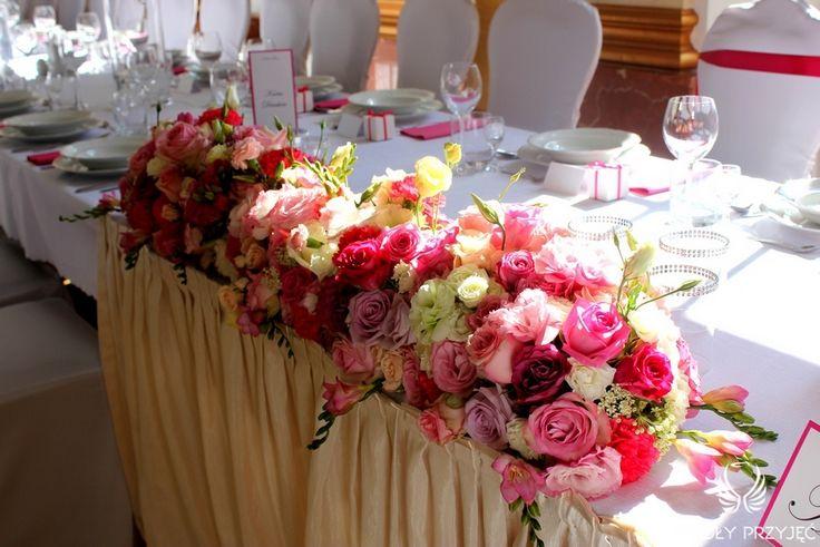 4. Pink Wedding,Centerpieces,Head table decor,Pink flowers / Różowe wesele,Dekoracja stołu,Dekoracja stołu Pary Młodej,Anioły Przyjęć