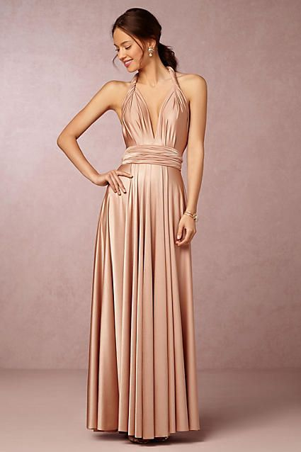 Anthropologie Ginger Convertible Maxi Wedding Guest Dress -Boasting over fifteen ways to wear-from strapless to halter to criss-crossed, features the comfort of jersey and the elegant look of a floor-skimming gown.