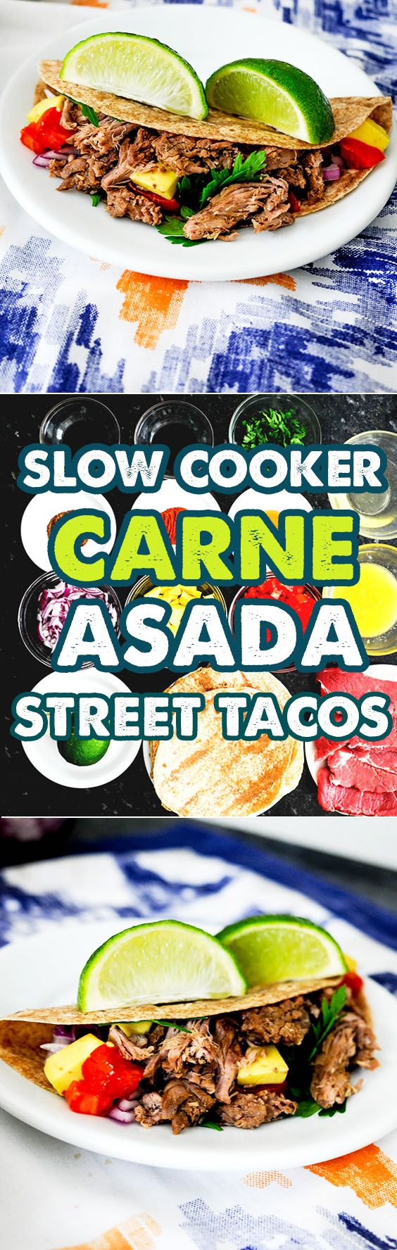 Slow Cooker Carne Asada Street Tacos Recipe is a perfect blend of sweet, spicy, salty and a little bit sour because of the orange juice. The meat will be so tender after putting in the slow cooker that your kids will definitely love it. The spices used adds a different kick and the garlic compliments it.