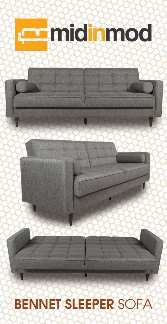 Bennet grey modern sleeper sofas in ash grey. Find modern sofas ideas that are comfortable and affordable! Get modern sofas for luxury living rooms or casual modern livingrooms. Discover more beautiful mid-century living room furniture and decor at midinmod.com.