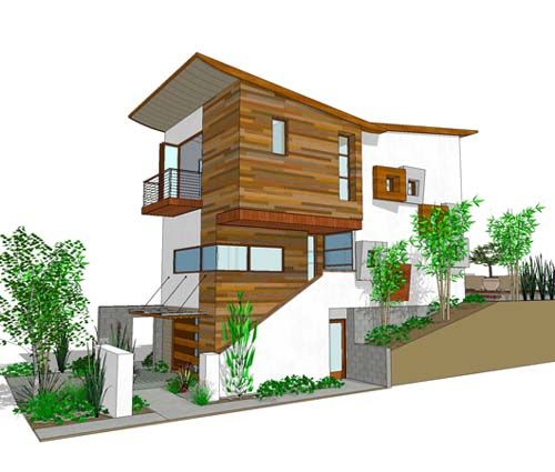 Ultra Narrow Lot Plans | Level 3-storey Contemporary House And 3-bedroom