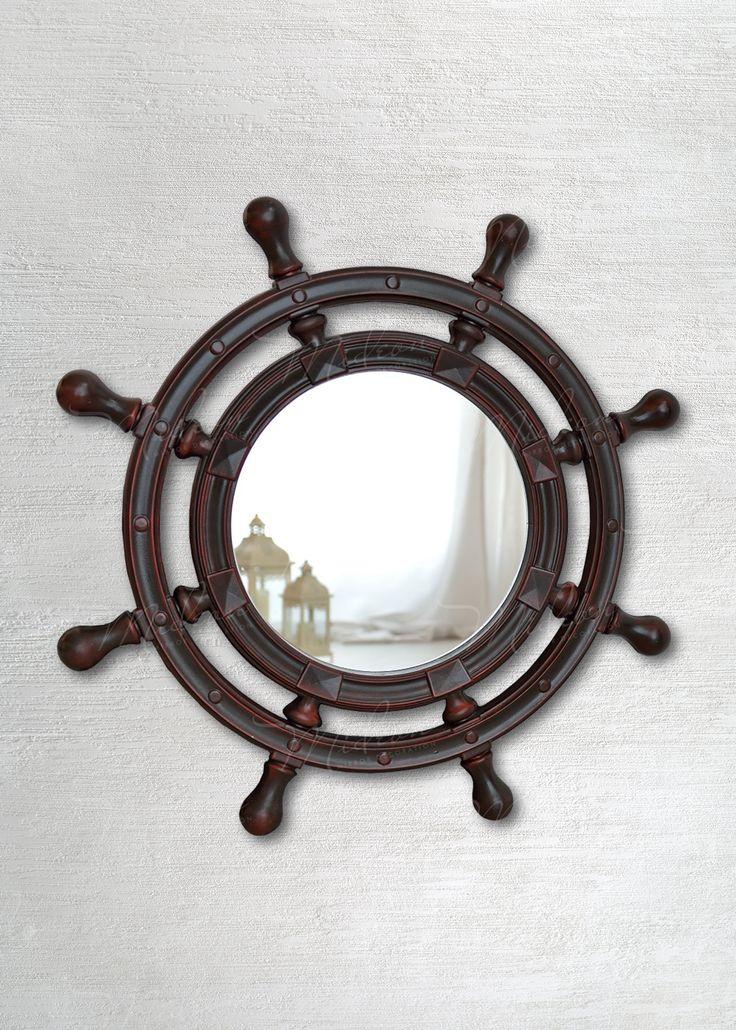 Круглое зеркало «Штурвал Красное дерево»