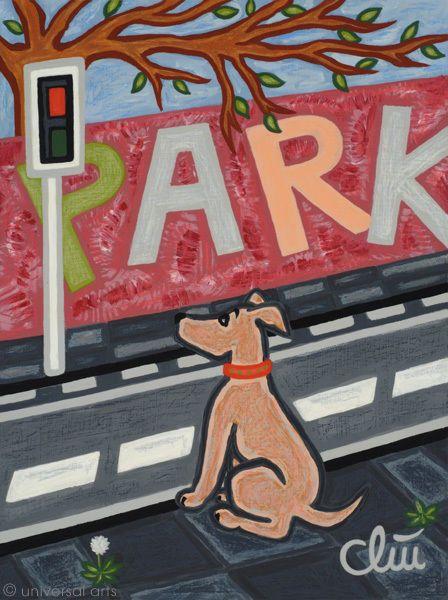 JACQUELINE DITT - Stray Dog going to the Park A4 Druck n.Gemälde Hunde Hund dogs