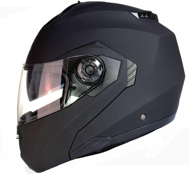 Casco da motocicletta modulare con doppia visiera in nero, bianco o argento - Nero opaco - L (59-60 cm)