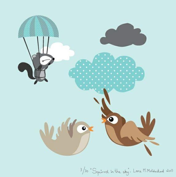 "Signert barneromsbilde / signed poster  - ""Squirrel in the sky"""