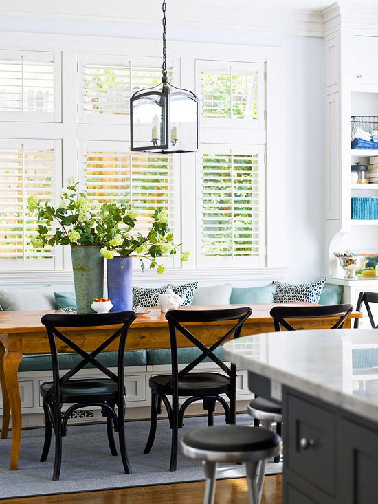 Another Banquette I love the long table!  #dining_table #banquette