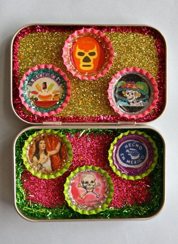 Mini Viva Mexico Magnet Set Mexican Kitsch by calaverasYcorazones, $12.50