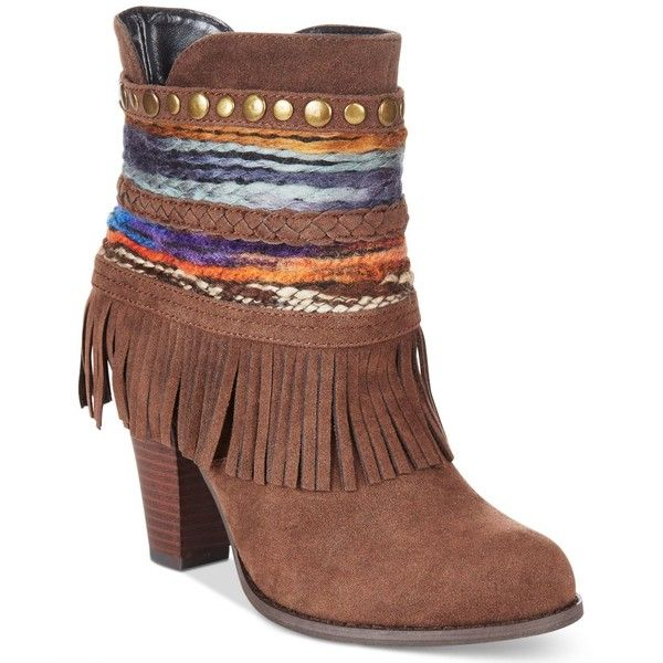 Dolce by Mojo Moxy Bronco Western Fringe Booties ($79) ❤ liked on Polyvore  featuring