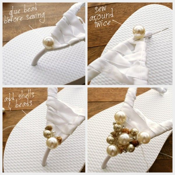 what a cute alternative to the normal 'bridal' flip flops :)