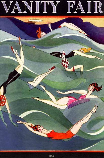 Glamoursplash: 1914 Bathing Beauty Repro Poster Art - by in house Vanity Fair artist, 'Fish'.