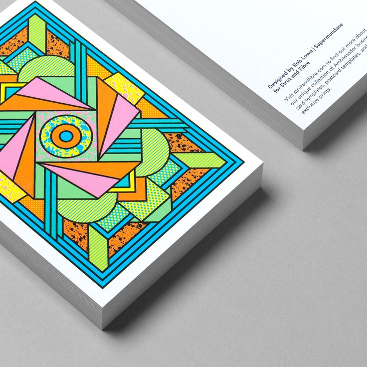 Postcard template designed by Supermundane for Strut and Fibre's Ambassador Collection.