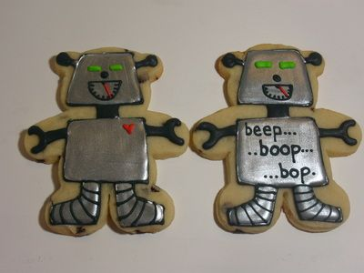 Robot Cookies!  Delicious Little Works of Art! - The Sweetest Thing Cookies