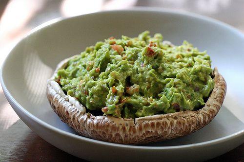 guacamole-stuffed & marinated portobello mushroom - Raw and Vegan: Raw Vegans, Vegans Portobello, Guacamole Stuffed Marines, Marines Portobello, Vegetables, Portobello Mushrooms, Vegans Food