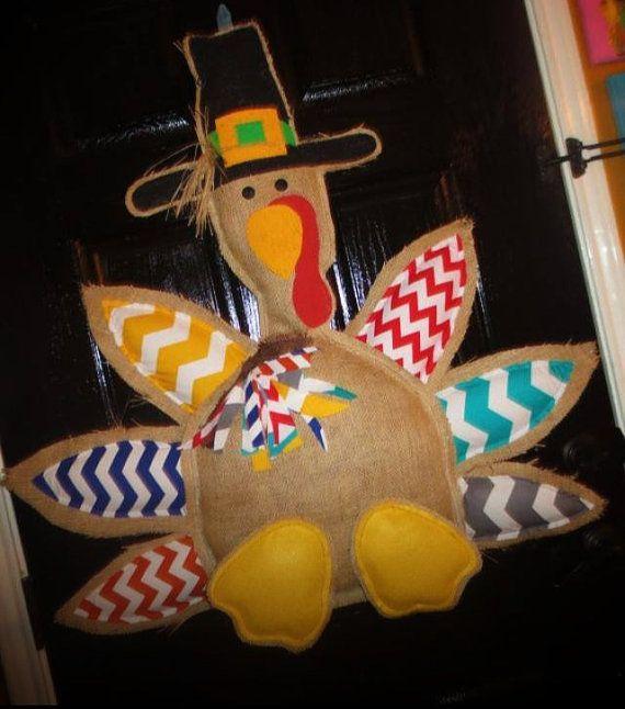 Turkey door hanger- chevron- thanksgiving- burlap - fall on Etsy, $75.00