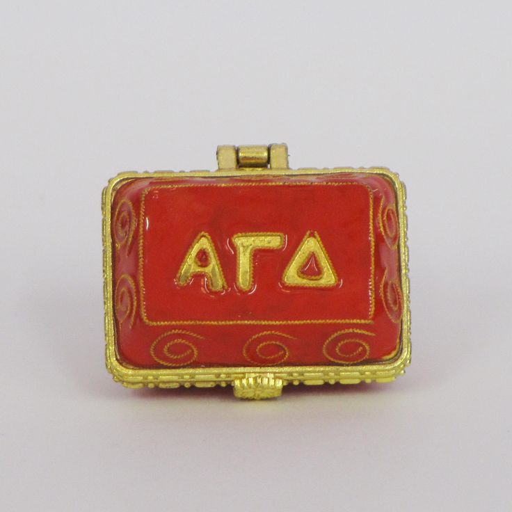Officially licensed Alpha Gamma Delta, handcrafted, 24k gold plated cloisonne - www.KittyKeller.com