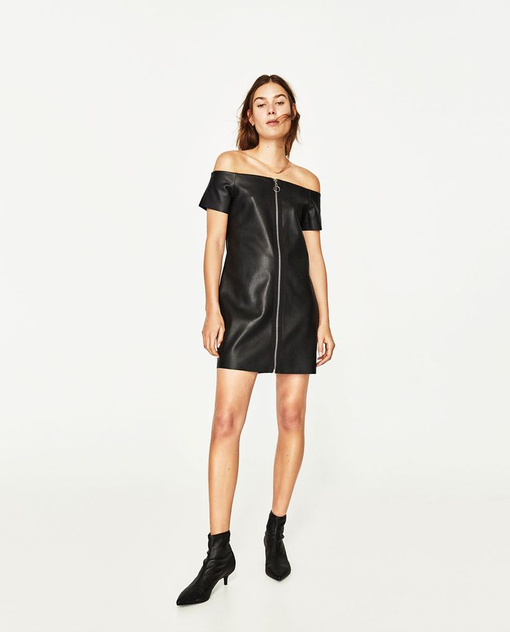 Image 1 of LEATHER-EFFECT DRESS from Zara
