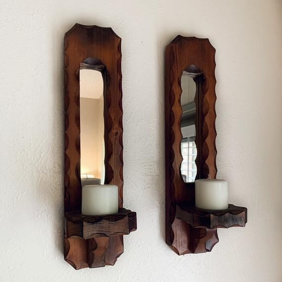 Wood Mirror Wall Candle Sconces Wood Carved Sconce Scalloped