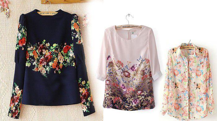 Fashion Wanita - 2 Pilihan Blouse Bermotif Floral, Model Terbaru Untuk Ke Kampus Atau Kantor