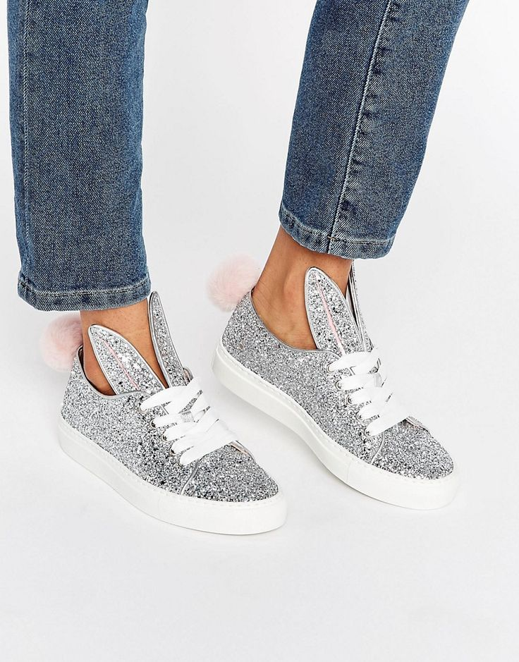 Buy it now. Minna Parikka Tail Sneaks Silver Glitter Trainers - Silver. Trainers by Minna Parikka, Glitter upper, Lace-up fastening, Extended shaped ears, Bunny tail to back, Chunky sole, Moulded tread, Treat with a leather protector, 100% Textiles Upper. MINNA PARIKKA Founded in 2005, Helsinki designer Minna Parikka takes us down the rabbit hole with her bold footwear collection. Expect her signature bunny-ear designs translated across a cottontail-clad range of wedge booties and skate…