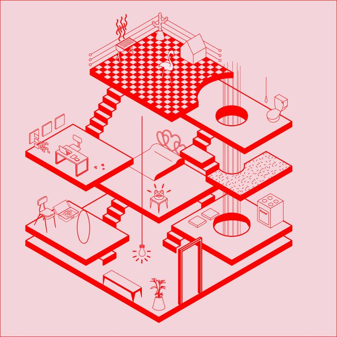 fabiola morcillo, isometric, perspective, lines, geometric, chile, 1989, architecture, illustration, upper playground