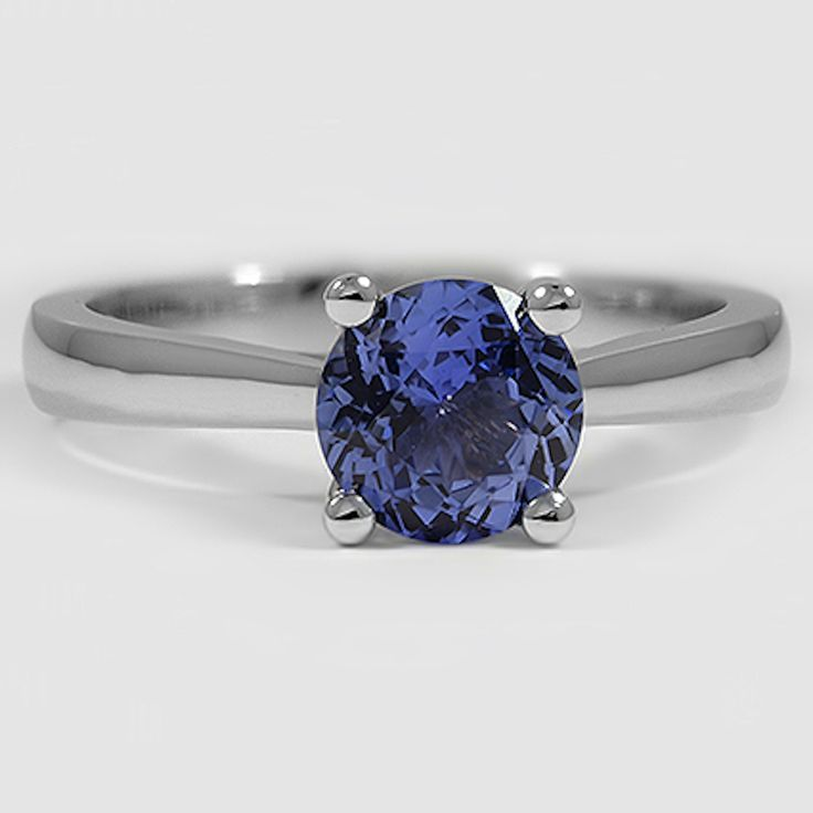 Platinum Sapphire Petite Tapered Trellis Ring // Set with a 6.5mm Blue Round Sapphire