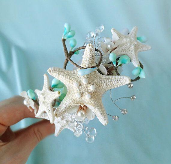 seashell wedding headband, starfish headpiece, mint bridal headband, mint green, mint blue, beach wedding - SERENITY- ocean hair accessories...