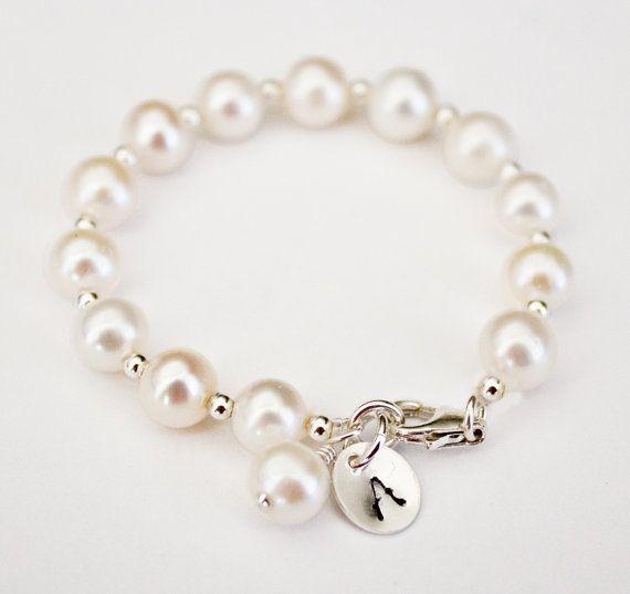 hand stamped baby bracelet, Initial bracelet, freshwater pearl bracelet, newborn bracelet, christening gift, baby girl, baby gift, twins on Etsy, $23.50. I would just love this for Harper!