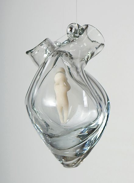 """Heart chamber: Listening"" (2010). Clay in artist-designed glass vessel. Vessel hand blown according to artist's maquette by John Burchetta; photo by William Nettles."