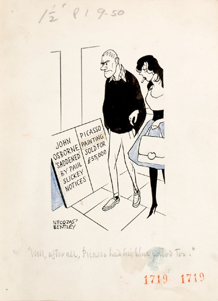 """""""Well, after all, Picasso had his blue period too."""" Two pedestrians read billboards, one noting """"John Osborne 'saddened' by Paul Slickey notices"""", the other """"Picasso Painting sold for £ 55,000"""". John Osborne's The World of Paul Slickey, a musical satire of the tabloid press, premiered on 5 May 1959 and proved one of the most resounding flops in modern theatrical history."""