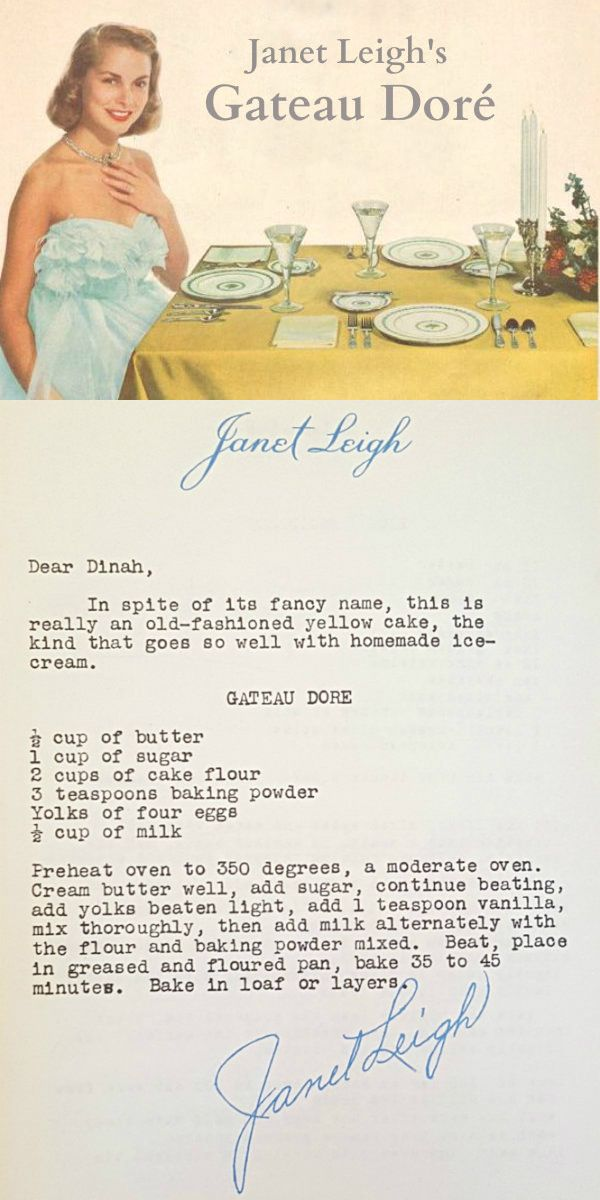 Another weekend, another fun recipe to try! This one is Janet Leigh's Gateau Dore or just old-fashioned vanilla cake. The recipe origin...