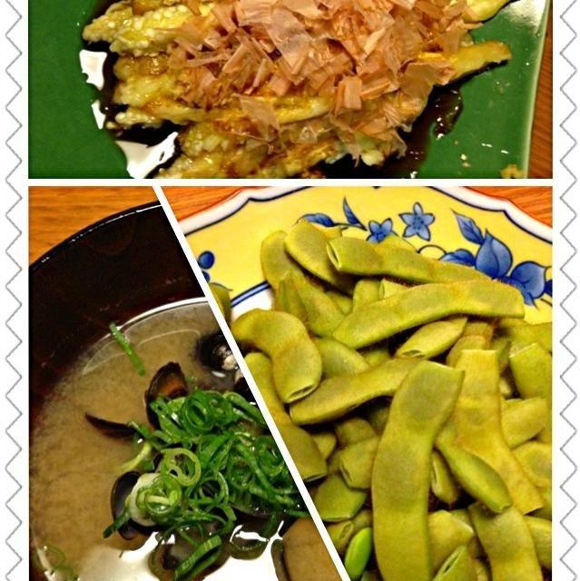 どれもこれも、シンプルイズベスト…なんちゃって(*^ิ 艸 ^ิ) - 46件のもぐもぐ - 枝豆、シジミの味噌汁、焼き茄子 by kamasann